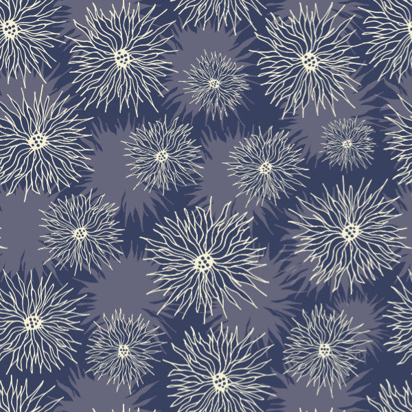 Daisies in Blue - Cotton Fabric By The Yard