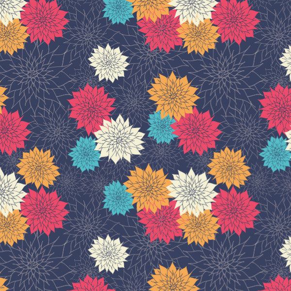 Dahlias in Navy - Cotton Fabric By The Yard