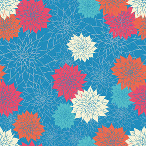 Dahlias in Bright Blue - Cotton Fabric By The Yard