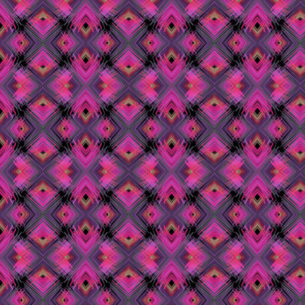 Neon Diamond in Purple and Black - Cotton Fabric By The Yard