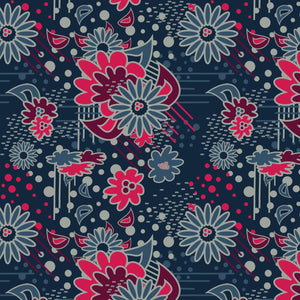 Floral Pow in Navy - Cotton Fabric By The Yard