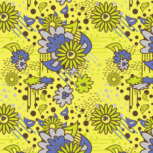 Floral Pow in Green - Cotton Fabric By The Yard