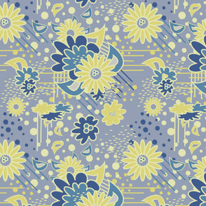 Floral Pow in Gray - Cotton Fabric By The Yard