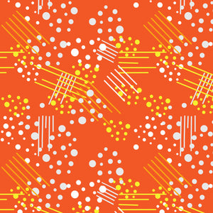 Dots 'n Stripes in Tangerine - Cotton Fabric By The Yard