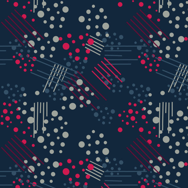Dots 'n Stripes in Navy - Cotton Fabric By The Yard