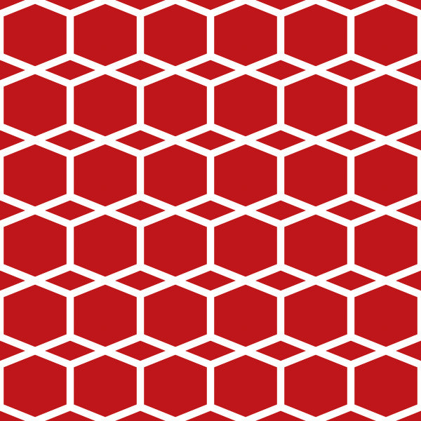 Hexagram in Red - Cotton Fabric By The Yard