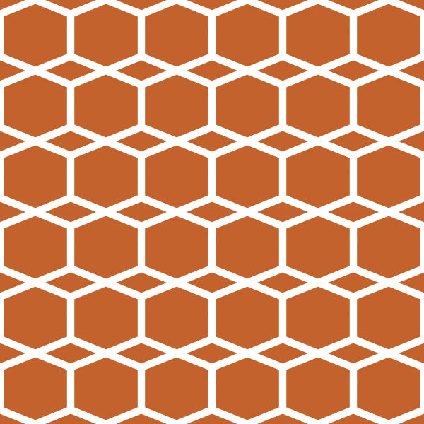Hexagram in Orange - Cotton Fabric By The Yard
