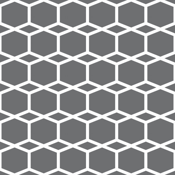 Hexagram in Gray - Cotton Fabric By The Yard