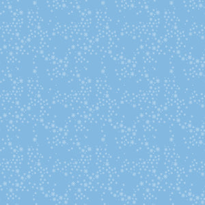 Snow Star in Baby Blue - Cotton Fabric By The Yard