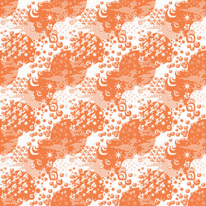 Macrocosm in Orange - Cotton Fabric By The Yard