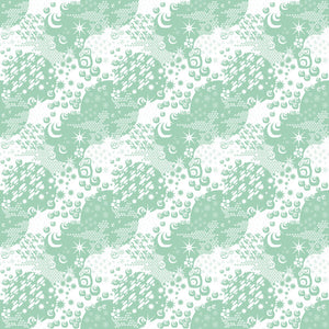 Macrocosm in Mint - Cotton Fabric By The Yard