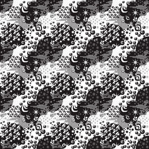 Macrocosm in Black - Cotton Fabric By The Yard