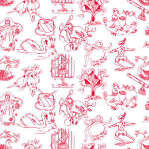 12 Days of Christmas in Candy Cane - Cotton Fabric By The Yard
