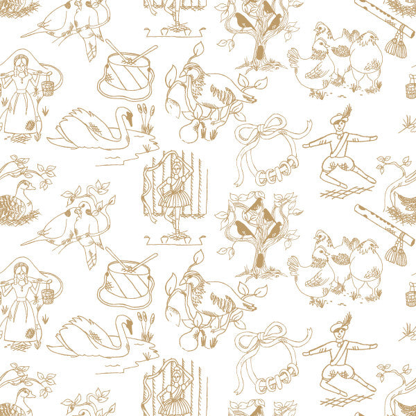12 Days of Christmas in Gingerbread - Cotton Fabric By The Yard