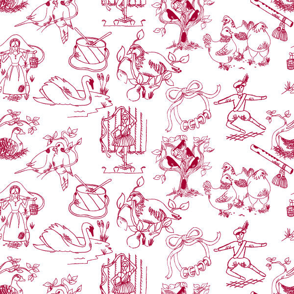 12 Days of Christmas in Holly Berry - Cotton Fabric By The Yard