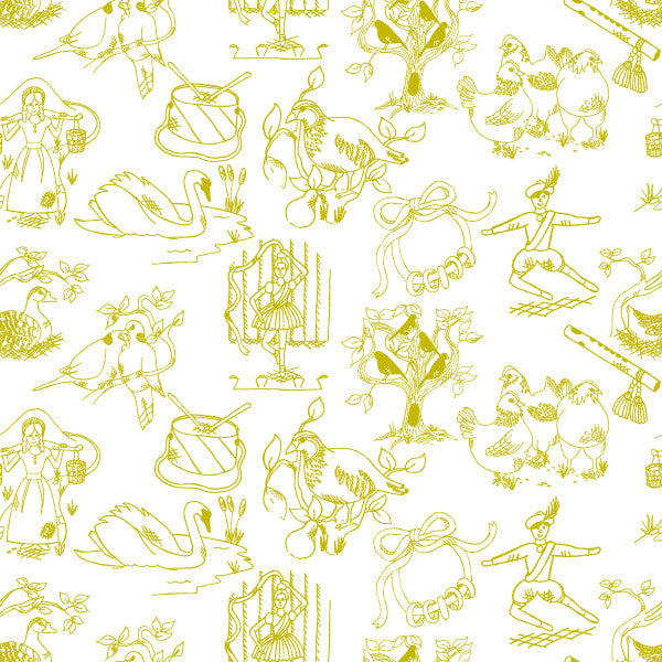12 Days of Christmas in Mistletoe - Cotton Fabric By The Yard