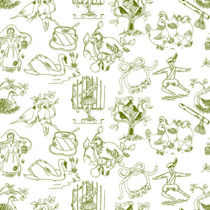 12 Days of Christmas in Pine - Cotton Fabric By The Yard