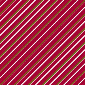 Candy Cane Lane in Berry Pine - Cotton Fabric By The Yard