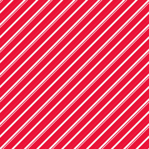 Candy Cane Lane in Candy Cane - Cotton Fabric By The Yard