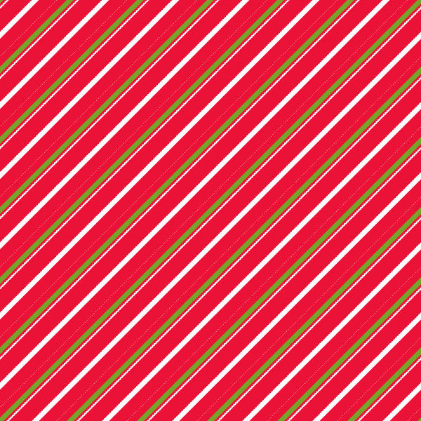 Candy Cane Lane in Candy Ivy - Cotton Fabric By The Yard