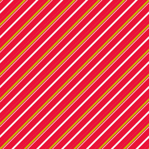 Candy Cane Lane in Candy Mistletoe - Cotton Fabric By The Yard