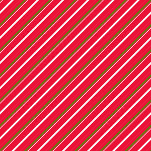 Candy Cane Lane in Candy Pine - Cotton Fabric By The Yard