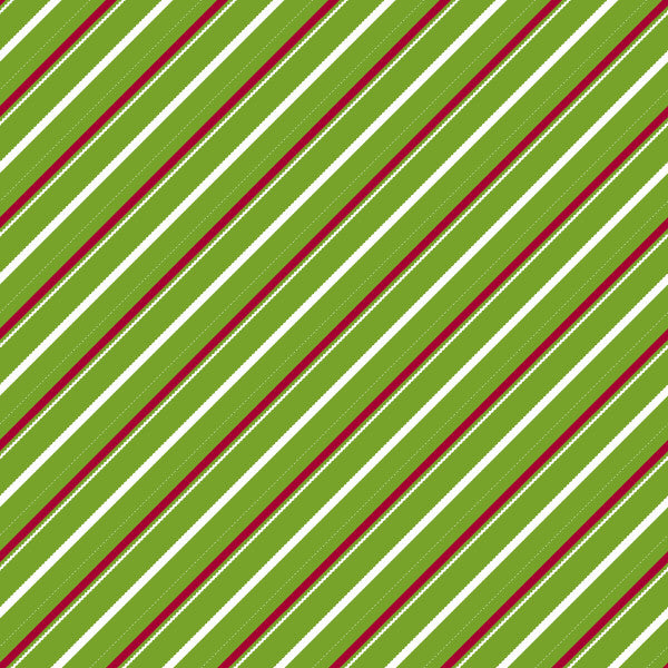 Candy Cane Lane in Ivy Berry - Cotton Fabric By The Yard