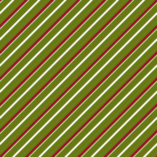 Candy Cane Lane in Pine Berry - Cotton Fabric By The Yard