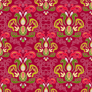 Hearth and Home in Holly Berry - Cotton Fabric By The Yard