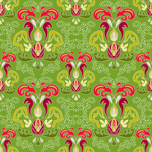 Hearth and Home in Ivy - Cotton Fabric By The Yard