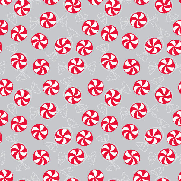 Peppermint Dance in Silver Bells - Cotton Fabric By The Yard