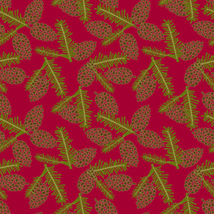 Pinery in Holly Berry - Cotton Fabric By The Yard
