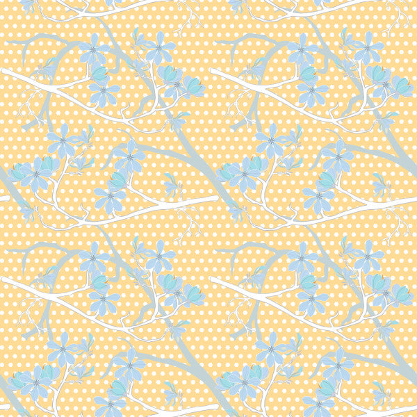 Branching Out in Sunshine - Cotton Fabric By The Yard
