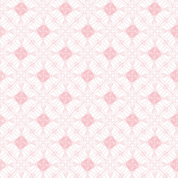 Quartrefoil in Pink On White - Cotton Fabric By The Yard