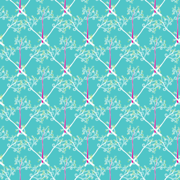 Branches in Blue - Cotton Fabric By The Yard