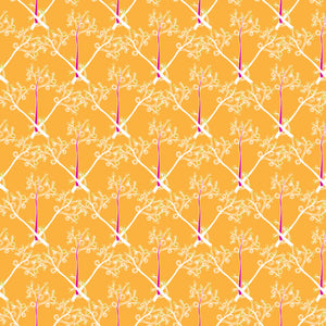 Branches in Orange - Cotton Fabric By The Yard