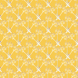 Branches in Yellow - Cotton Fabric By The Yard