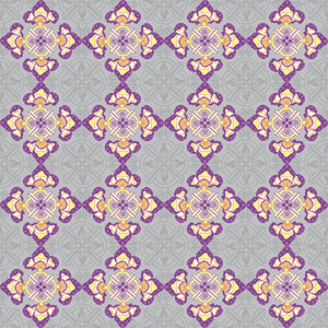 Fan Flare in Purple - Cotton Fabric By The Yard