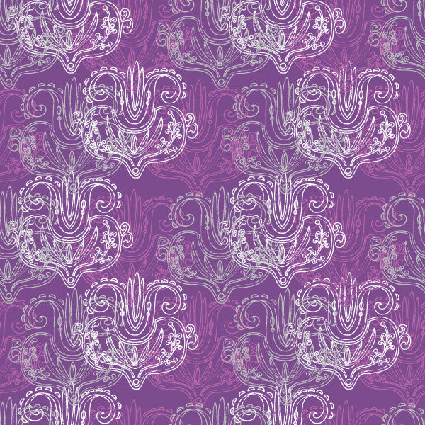 Natural Damask in Purple - Cotton Fabric By The Yard