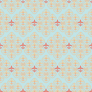 Damask in Crystal - Cotton Fabric By The Yard
