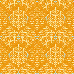 Damask in Orange - Cotton Fabric By The Yard