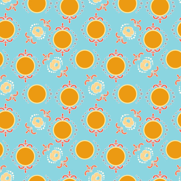 Dancing Dots in Calm - Cotton Fabric By The Yard