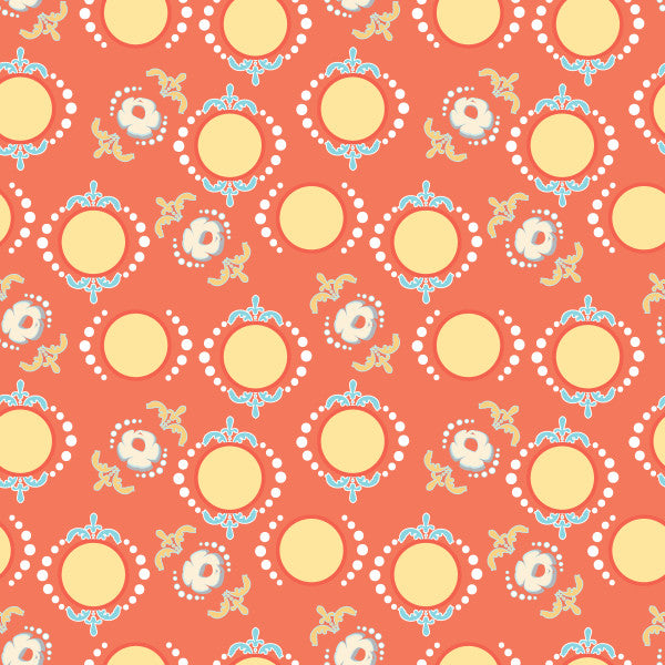 Dancing Dots in Sunset - Cotton Fabric By The Yard