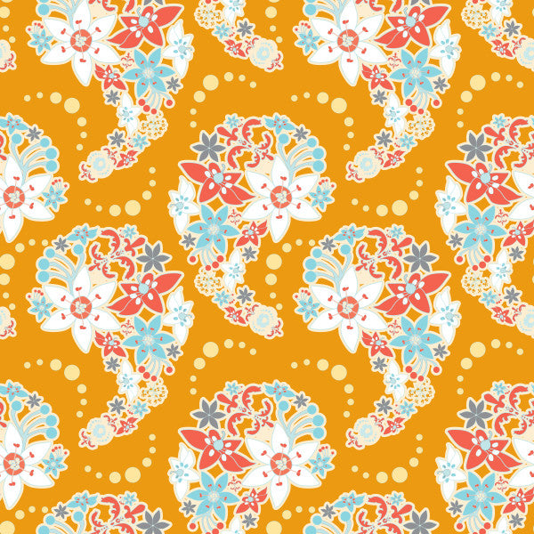 Paisley Bouquet in Orange - Cotton Fabric By The Yard