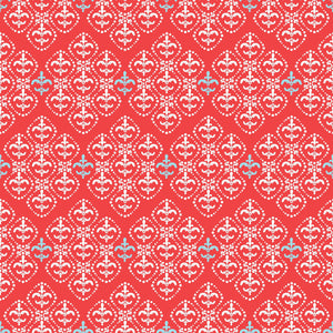 Damask in Cool Cherry - Cotton Fabric By The Yard