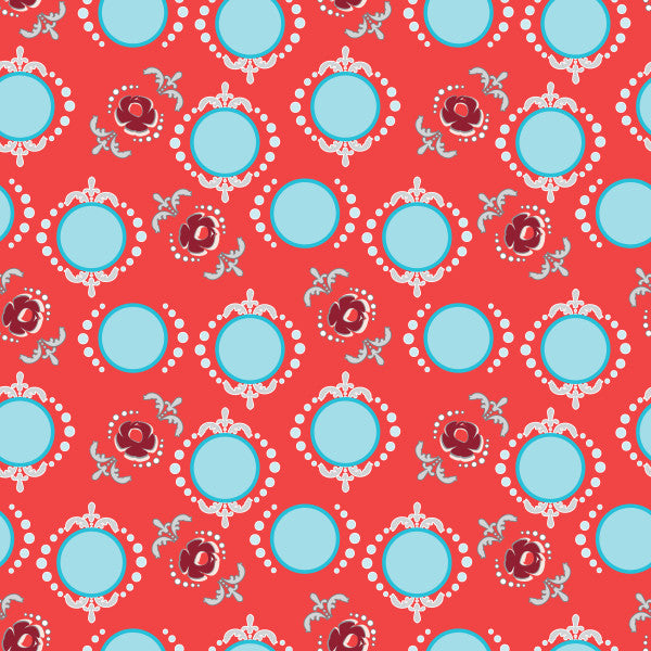 Dancing Dots in Cool Cherry - Cotton Fabric By The Yard