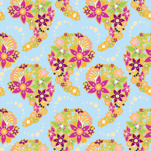 Paisley Bouquet in Vibrant - Cotton Fabric By The Yard