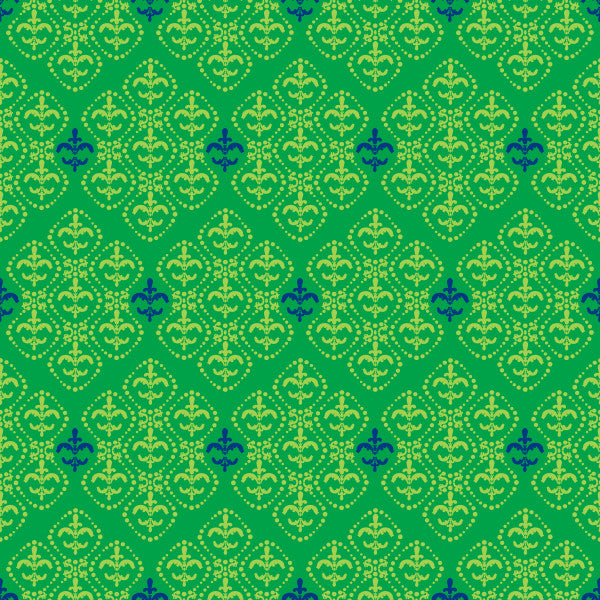 Damask in Kelly - Cotton Fabric By The Yard