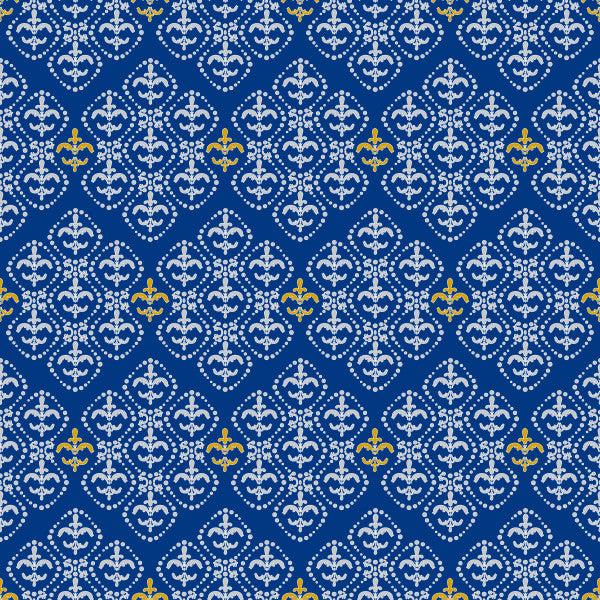 Damask in Navy - Cotton Fabric By The Yard