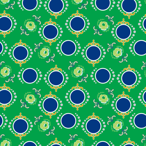 Dancing Dots in Kelly - Cotton Fabric By The Yard